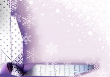 Christmas Background with Wrapping Decoration. Purple Christmas Background with Paper Wrapping Decoration and Snowflakes and Snow - Festive Illustration, Vector Stock Photography