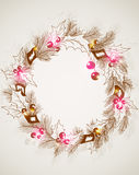 Christmas background with wreath Stock Photography