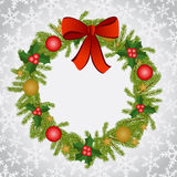 Christmas background with wreath Stock Photo