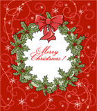 Christmas background with wreath Royalty Free Stock Photo