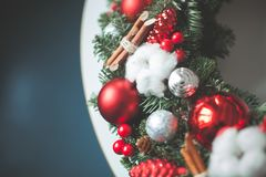 Christmas Background with Xmas Evergreen Twig royalty free stock images