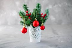 Christmas background with xmas fir branches and decorations. Christmas greeting postcard. Copy space royalty free stock photo
