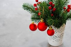 Christmas background with xmas fir branches and decorations. Christmas greeting postcard. Copy space stock images