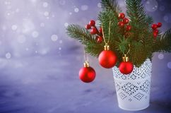 Christmas background with xmas fir branches and decorations. Christmas greeting postcard. Christmas background with xmas fir branches and decorations in the stock image