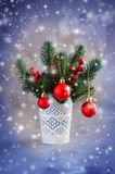 Christmas background with xmas fir branches and decorations. Christmas greeting postcard. Christmas background with xmas fir branches and decorations in the royalty free stock image