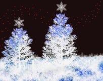 Christmas background with xmas lights. Christmas background with fir trees and xmas lights Stock Image