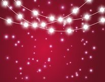 Christmas background with xmas lights. Vector glowing garland on red background with shine particles. royalty free illustration