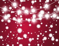 Christmas background with xmas lights. Vector glowing garland  on red background with shine particles. Vector Royalty Free Stock Images
