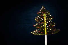 Christmas Background with Xmas Tree Lollipop Royalty Free Stock Photos