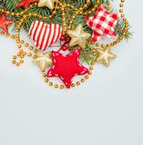 Christmas Background with Xmas Tree Twig Royalty Free Stock Photo