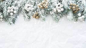 Christmas background with xmas tree on white creased background. Merry christmas greeting card, frame, banner. Winter holiday theme. Happy New Year. Space for