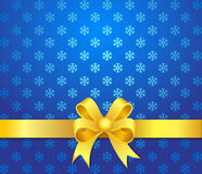 Christmas background yellow bow. Christmas background blue ribbon abstract, artistic holiday Royalty Free Stock Photo