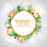 Christmas background with yellow ornaments and branches Royalty Free Stock Photo