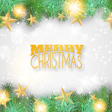 Christmas background with yellow ornaments and branches Stock Images