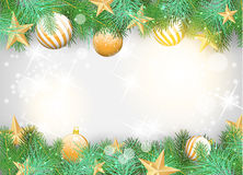 Christmas background with yellow ornaments and branches stock illustration