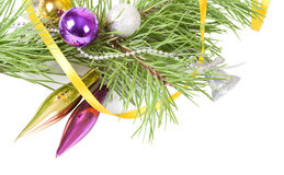 Christmas background with yellow ribbon Stock Photography