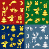 Christmas backgrounds. Collection of christmas backgrounds with gold and silver symbols - vector illustration Royalty Free Stock Photo