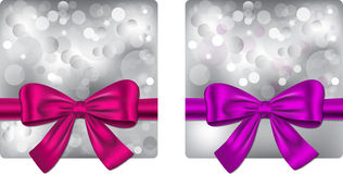 Christmas backgrounds. With violet and pink ribbon. Gift cards. Vector illustrations royalty free illustration