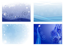 Christmas backgrounds. Set of Christmas backgrounds in different shades of blue Royalty Free Stock Photos