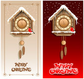 Christmas backgrounds. With wooden cuckoo clock Stock Image