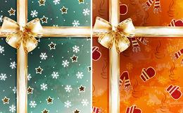 Christmas backgrounds. With gold bow Stock Photos