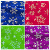Christmas backgrounds. Set of four Christmas fabric backgrounds isolated on white background royalty free stock photos