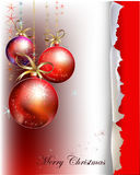 Christmas backgrounds with balls and robbin Royalty Free Stock Photography