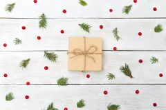 Christmas backgrounds. Berries of viburnum with spruce and gift Royalty Free Stock Image