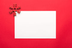 Christmas backgrounds. Christmas decor on red background with copyspace. View from above Royalty Free Stock Photography