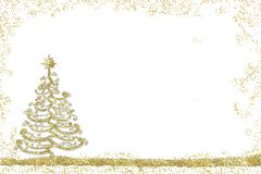 Christmas backgrounds. Christmas postcard, freehand drawn christmas tree with golden glitter on white background with space for text message Stock Photo