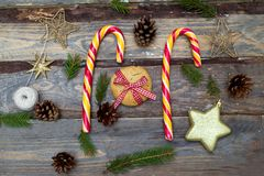 Christmas backgrounds. Christmas toys, Christmas candies on a wo Royalty Free Stock Images