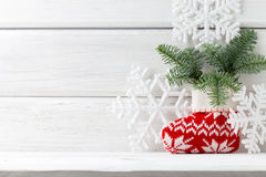Christmas backgrounds. Christmas decor on the white wooden background royalty free stock photo