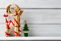 Christmas backgrounds. Christmas decor on the white wooden background Stock Photos