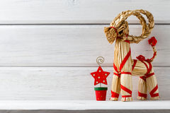 Christmas backgrounds. Christmas decor on the white wooden background Stock Photo
