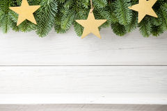 Christmas backgrounds. Christmas decor on the white wooden background royalty free stock image