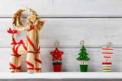 Christmas backgrounds. Christmas decor on the white wooden background stock images
