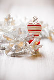 Christmas backgrounds. Christmas decor on the white wooden background Royalty Free Stock Photography