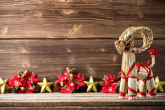 Christmas backgrounds. Christmas decor on the wooden background Stock Photos