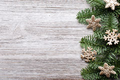 Christmas backgrounds. Christmas decor on the wooden background stock images