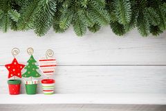 Christmas backgrounds. Christmas decor on the wooden background Royalty Free Stock Photos