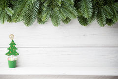 Christmas backgrounds. Christmas decor on the wooden background Stock Image