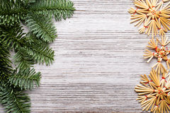Christmas backgrounds. Christmas decor on the wooden background Royalty Free Stock Images