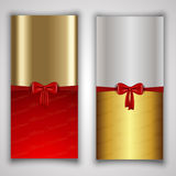 Christmas backgrounds. Decorative Christmas backgrounds with red ribbons Royalty Free Stock Images