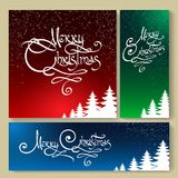 Christmas Holiday Background set. Christmas backgrounds with fir trees and Merry Christmas hand drawn lettering. Vector illustration Stock Images
