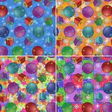 Christmas backgrounds with gifts and balls. Set Christmas holiday backgrounds with gift boxes, glass balls stars and snowflakes Stock Photo