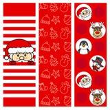 Christmas backgrounds. Icons, santa and Christmas drawings Stock Photography