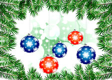 Christmas backgrounds - Illustration. Christmas illustration with colorful multi-colored balls and branches of Christmas tree..Christmas Greeting Card 2014 Royalty Free Stock Photography