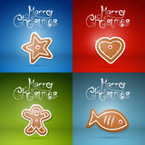 Christmas Backgrounds Set. Four Abstract Christmas Backgrounds with Gingerbread Royalty Free Stock Images