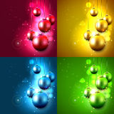 Christmas backgrounds. Set of four Christmas backgrounds with baubles Stock Photography