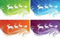 Christmas backgrounds set. In four different colors Royalty Free Stock Image